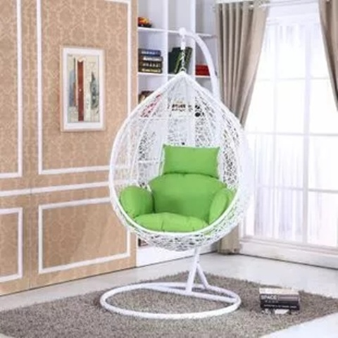 Pe Rattan White Outdoor Free Standing Hanging Egg Swing