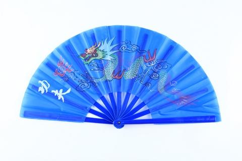 1X Chinese Dragon Martial Kung Fu Tai Chi Dance Fan Blue