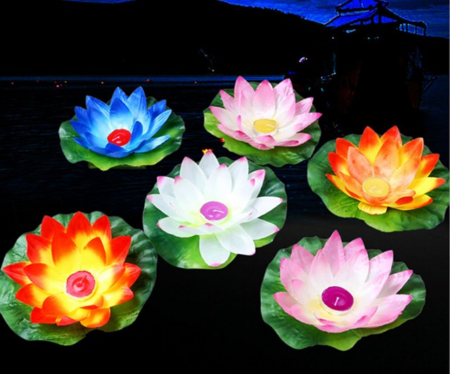 10 Chinese Cloth Lotus Flower Floating Lanterns Mixed Color We F246